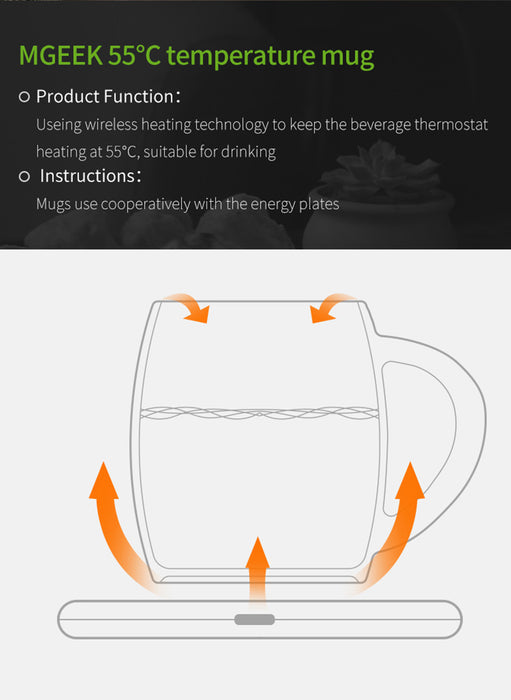 55Degree Intelligent Constant Temperature Ceramics Mug Wireless Charging Heating