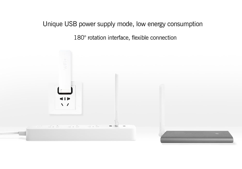 Xiaomi WiFi 300M Amplifier 2 - Built-In Dual Antennas, 300Mbps, Supports 16 Devices At Once, 180 Degree Rotating USB