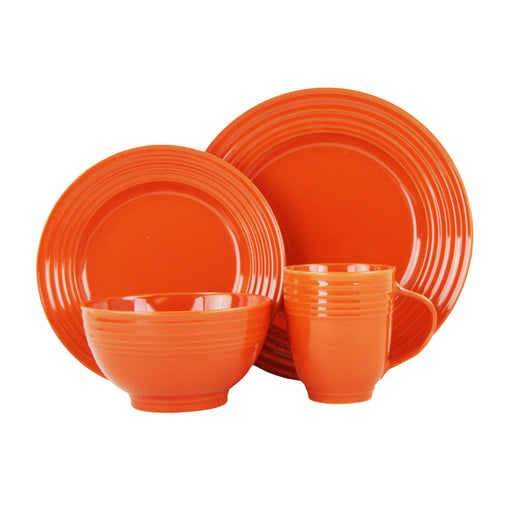 Stylush 16 Piece Dinnerware Set, Orange