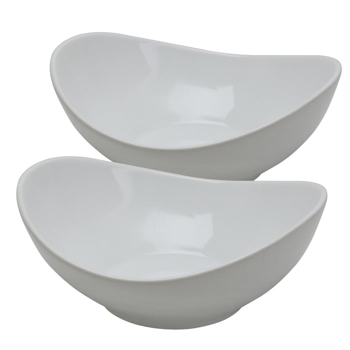 Gibson Elite Gracious Dining 2 Piece 9 inch Fine Ceramic Oval Serving Bowl in White