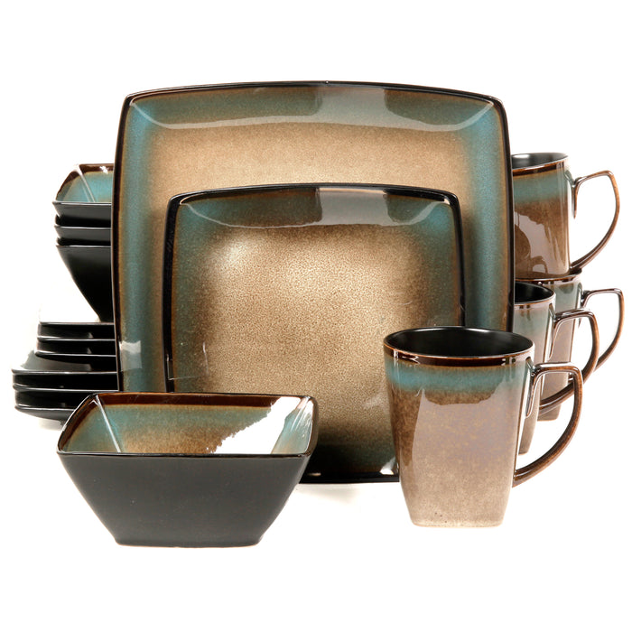 Gibson Elite Tequesta 16-Piece Square Dinnerware Set- Taupe