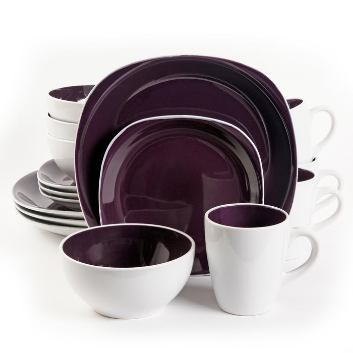 Gibson Home Chicstone 16pc Dinnerware Set in Purple and White  sc 1 st  Generix LLC & Gibson Home Chicstone 16pc Dinnerware Set in Purple and White ...
