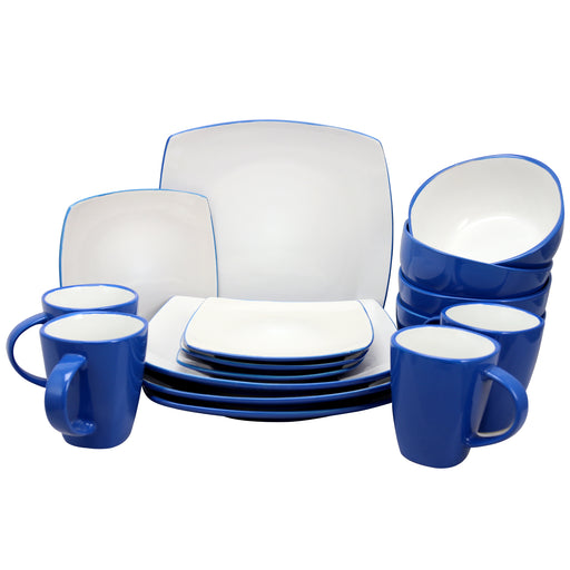 Gibson Elite Soho Lounge 16 Piece Dinnerware Set in Blue