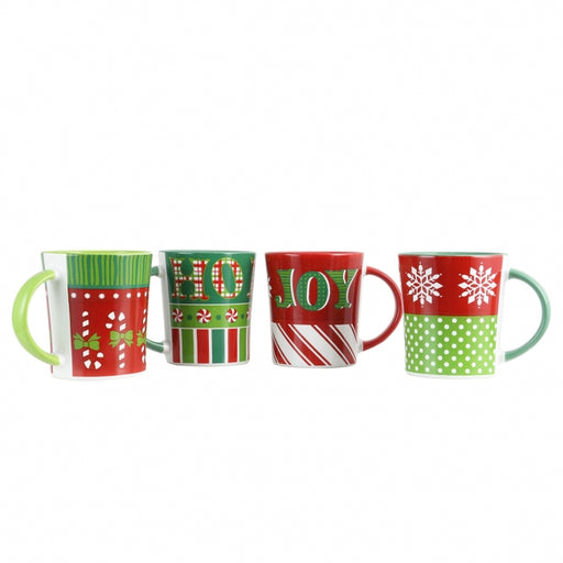 Gibson Home Holiday Wrap 4 Piece 15 oz. Assorted Funky Mug Set