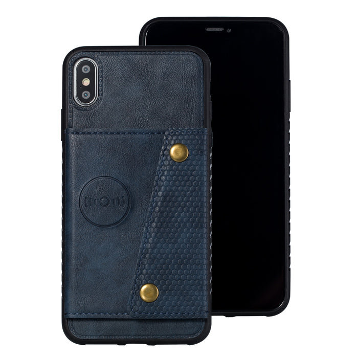 For iPhone XS Max 6.5 inch Phone Case Protective Back Cover with Card Holder Bracket, blue shell