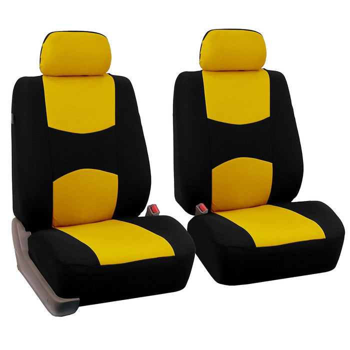 4pcs/set Universal Car Front Seat Cushion Cover + Head Cushion Cover Breathable Cloth Seat Cover Pad Set Yellow