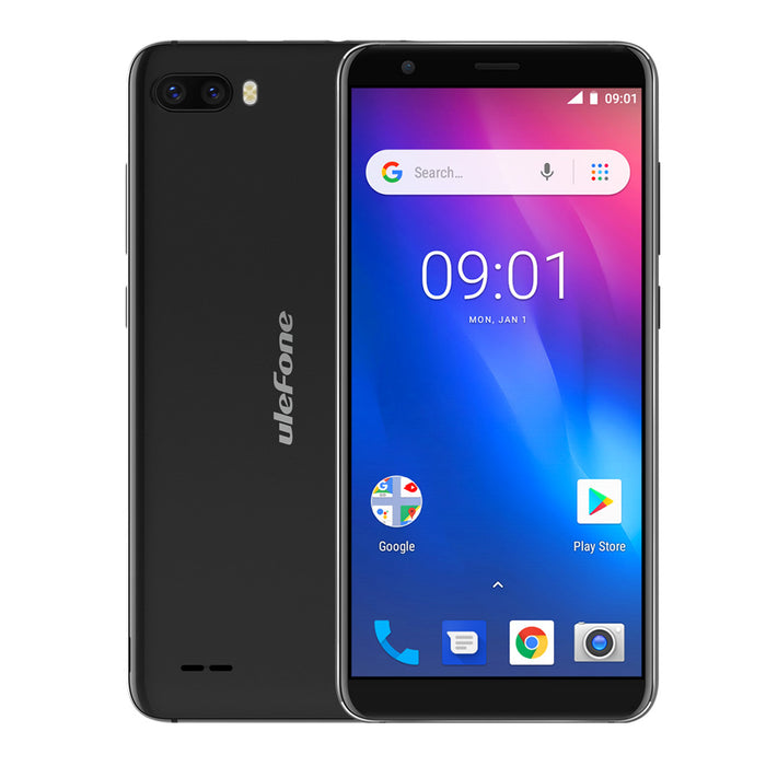 Ulefone S1 Mobile Phone 5.5-Inch 18:9 MTK6580 Quad-Core 1GB RAM+8GB ROM 8MP+5MP Rear Dual Cameras 3000mAh Android 8.1 Black