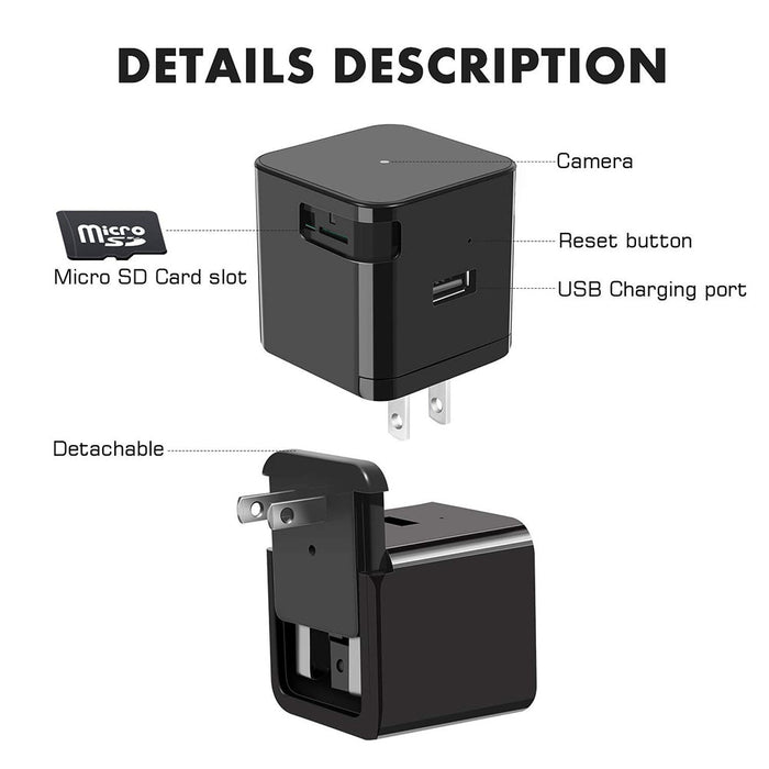 Black 1080P Mini Camera WiFi Adapter Wall Charger with Night Vision Motion Detection Camera Real Time Home or Office US Plug