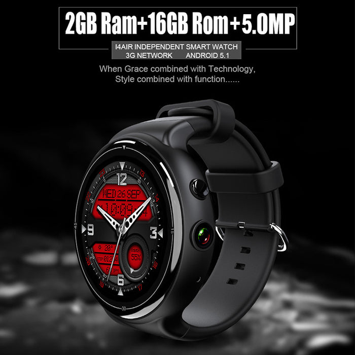 I4 Air Smart Watch Phone - 1 IMEI, 3G, 5MP Camera, WiFi, Calls, Messages, Social Media, Music, Pedometer, Heart Rate, Android OS