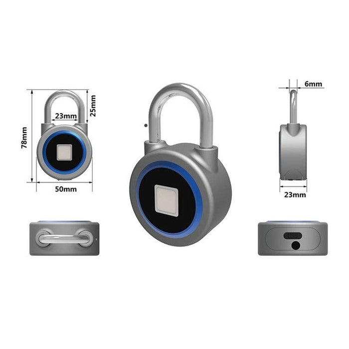 Fingerprint Padlock Bluetooth Metal Waterproof Electronic Lock