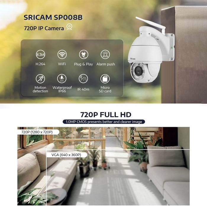 AU Plug Sricam SP008B 720P Wireless WiFi IP Camera IR Night Vision Motion Detection Outdoor CCTV Camera