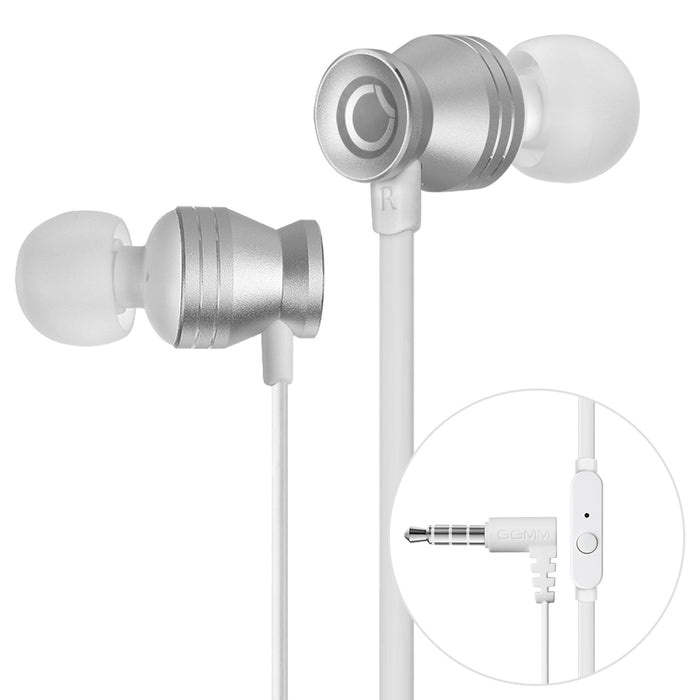 GGMM Portable Metal Stereo Headset In-Ear Noise Cancellation Silver Earphone Earbud