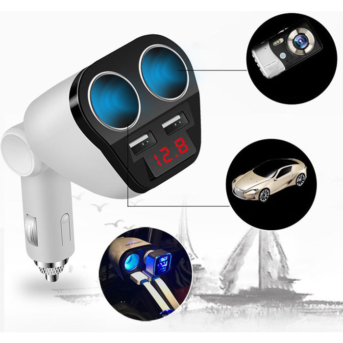 12V/24V Auto Dual USB Car Charger Cigarette Lighter Adapter Socket Splitter Fast Charger White