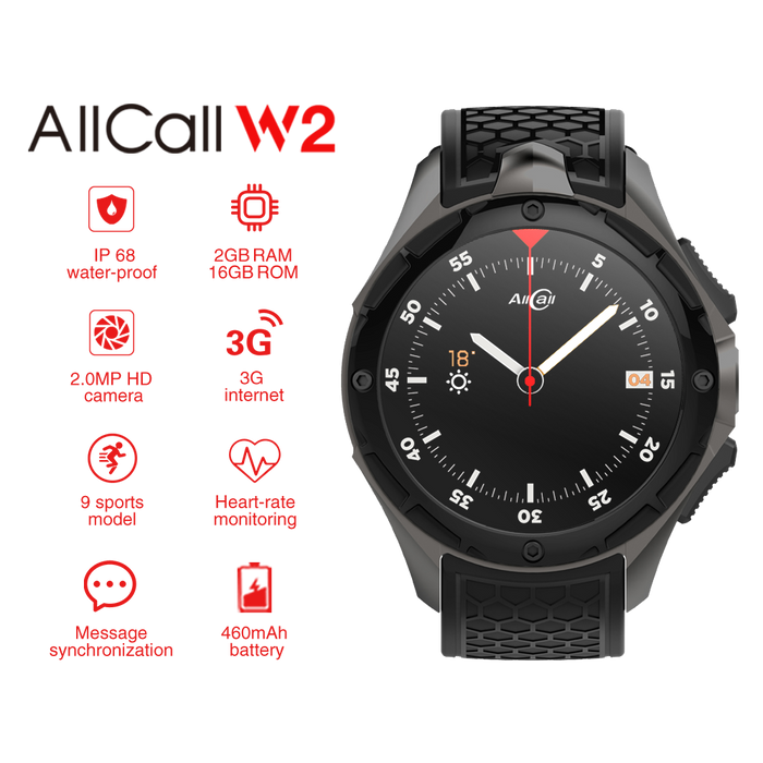 AllCall W2 IP68 Android Smartwatch - 3G, 1.39 inch Touch Screen, MTK 6580, Compass, Pedometer, Heart Rate Sensor, Android 7.0