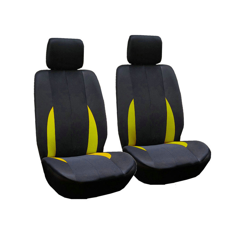 Car Front Breathable Seat Covers Universal Application 4 Seasons Available 2pcs Yellow