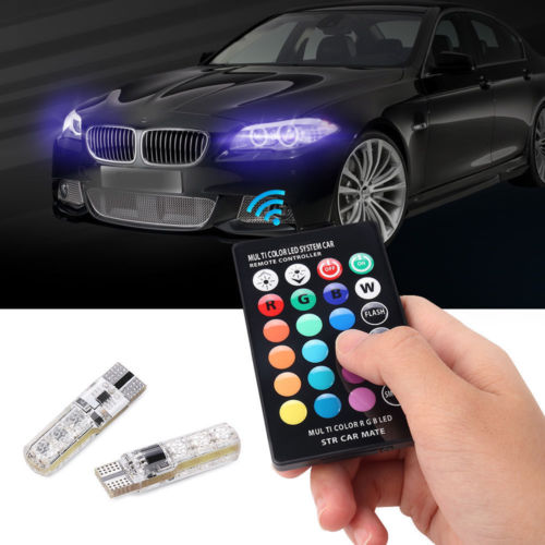 2Pcs T10 5050 Remote Control Car Led Bulb 6 Smd Multicolor W5w 501 Side Light Bulbs