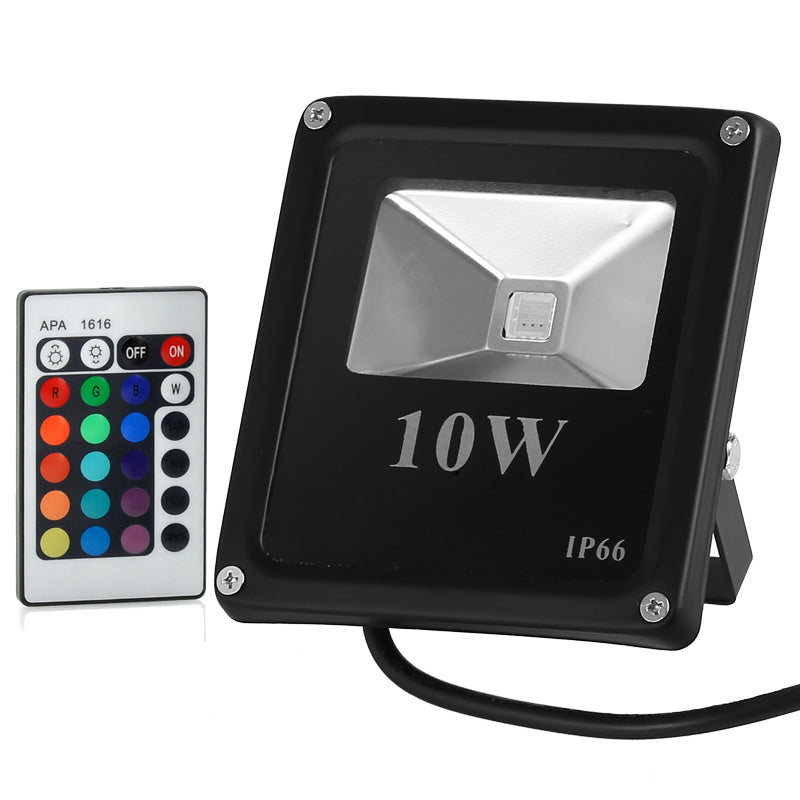LED Flood Light - 10W, Waterproof, Outdoor Use, Multicolor, Remote Control
