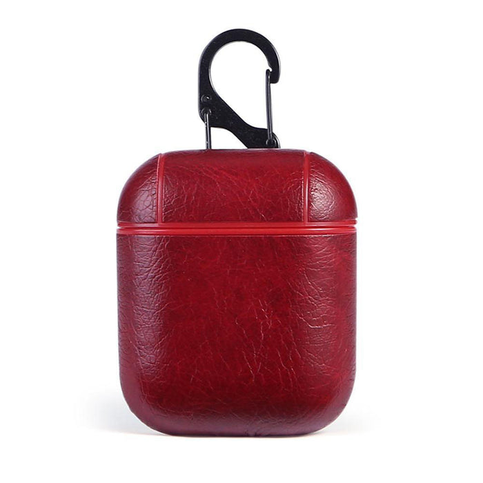 Red Genuine Leather Anti-drop Shockproof Protective Case for Apple AirPod Earphone