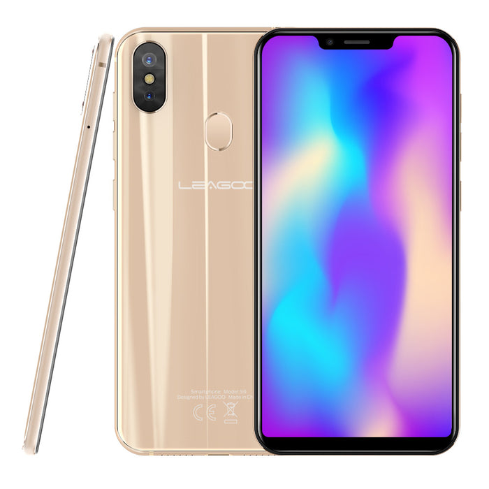 "LEAGOO S9 Mobile Phone 5.85"" 4GB RAM+32GB ROM Android 8.1 13MP Dual Rear Camera  Smartphone Gold"