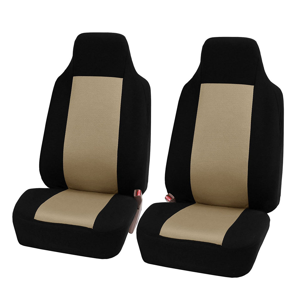Beige 2pcs/set Universal Car Front Seat Cushion Unique Breathable Cloth Seat Cover Pad