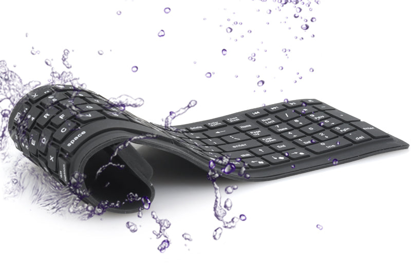 IP67 Bluetooth Wireless Keyboard - Supports PC, Mac, Android + IOS, Flexible Foldable Silicone, Waterproof, Dirt + Dustproof