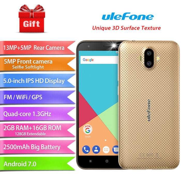 ULEFONE S7 5 Inch Android 7.0 MTK 6580 Quad-core 32-bit 1.3GHz 1+8GB Smart Phone