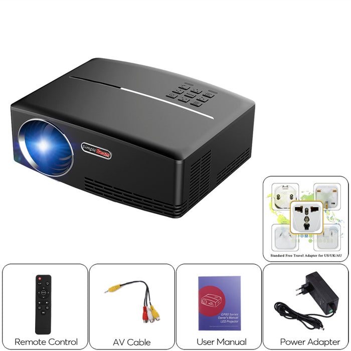 ViviBright GP80 Portable Projector - 1800 Lumen, 40 To 135 Inch Projection, HDMI, Stereo Speaker, 1080P Support