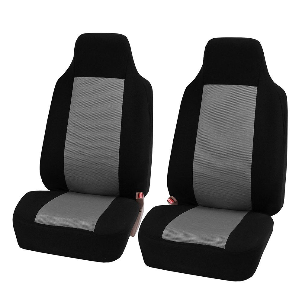 Gray 2pcs/set Universal Car Front Seat Cushion Unique Breathable Cloth Seat Cover Pad