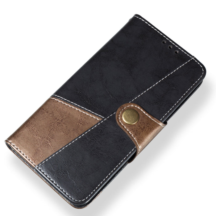For iPhone XS MAX 6.5 inch Hit Color Stitching Leather Protective Phone Case with Button & Card Position & Bracket, Gray Case
