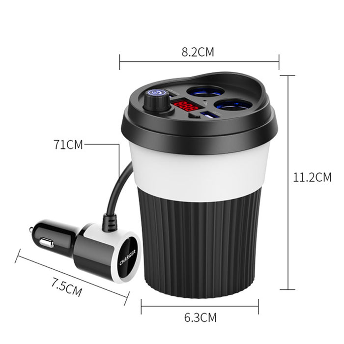 Car Bluetooth Cup Adaptor - U-disk Port Cigarette Lighting Ports Bluetooth 4.2 Voltage Detection