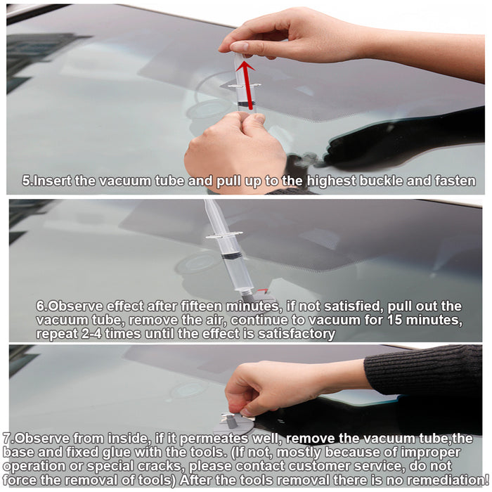 DIY Car Windshield Repair Kit Windscreen Glass Repair Tool Set for Bullseye Star Half-moon Cracks or the Combination Cracks