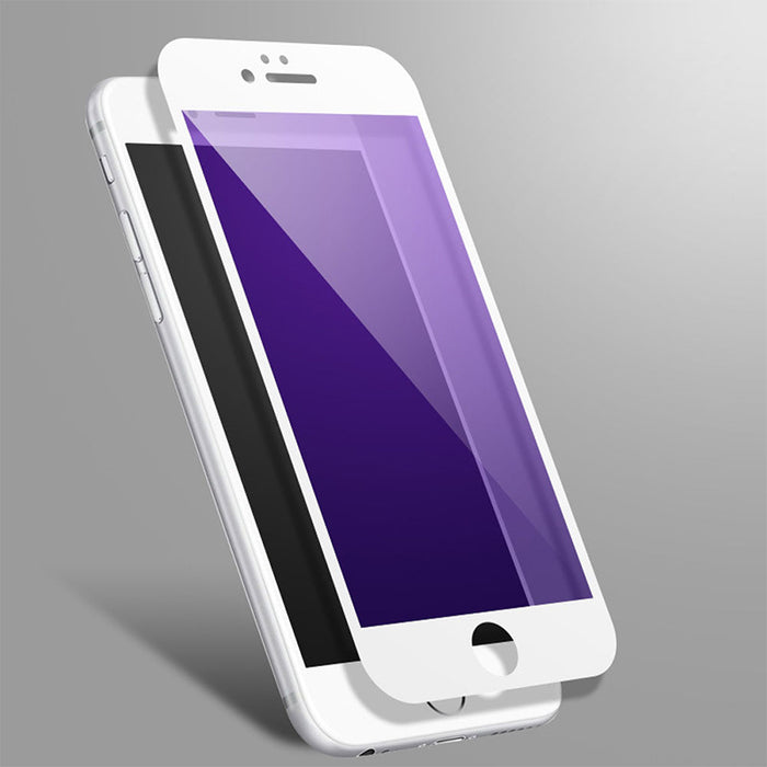 2 Pcs For iPhone 7/8 plus 0.2mm 3D Full Coverage Anti Purple-ray Tempered Glass Screen Protector-White
