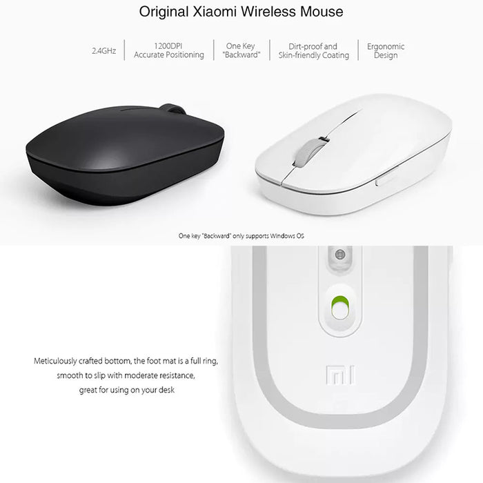 Xiaomi Wireless Mouse - 1200dpi, 2.4G Wireless, 4-Button Design, Water And Dust Resistant, 10m Range, 1x AA Battery