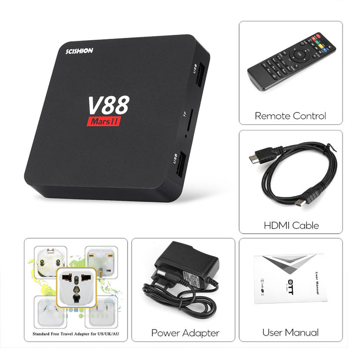Scishion V88 Mars 2 TV Box - 4K Support, Quad-Core CPU, 2GB RAM, Kodi 16.1, Google Play, WiFi, Miracast, DLNA, Bluetooth