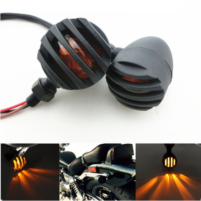 2 Packed Vintage Motorcycle Tail Light Round Shape LED Tail Brake Light For Harley Bobber Chopper