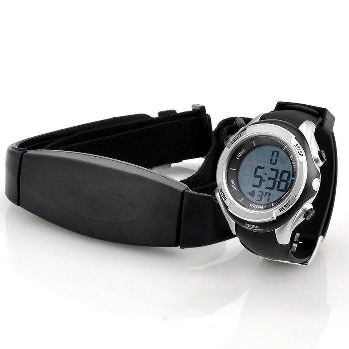Heart Rate Monitor Watch with Chest Belt - EL Backlight, Stopwatch