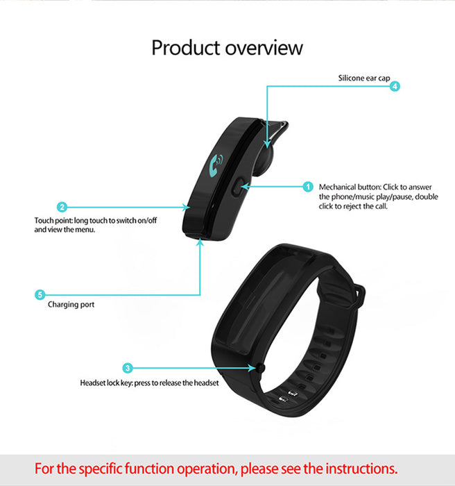 Bluetooth Headset Bracelet - 0.96inch Screen Build in Microphone Hands Free Phone Calls Sedentary Reminder