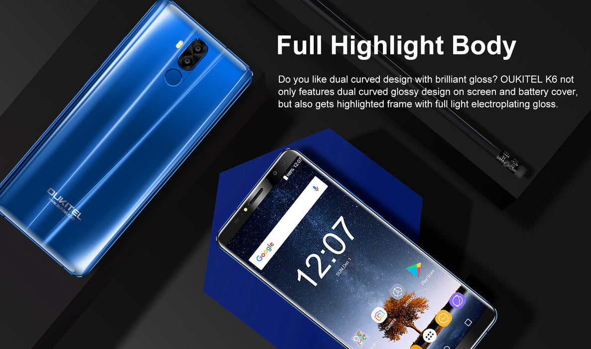 KOUKITEL 6.0 Inch 18:9 MT6763 Android 7.1 6 + 64GB Blue Smart Phone