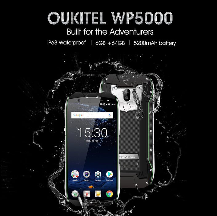 OUKITEL WP5000 5.7 Inch 6GB RAM + 64GB ROM Android 7.1 Smart Phone Black