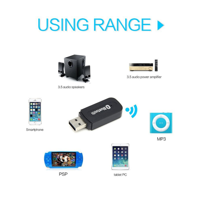 Mini USB Bluetooth 3.5mm Receiver & Adapter For Home Stereo , Portable Speakers , Car (AUX In) Music Sound Systems