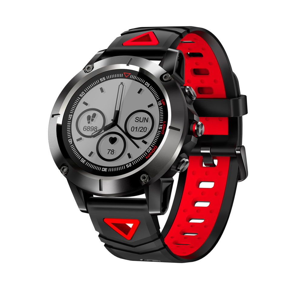 Red Smart Sports Watch Built-in GPS Fitness Tracker IP68 Waterproof Heart Rate Monitor for Men, Women and Adventurer
