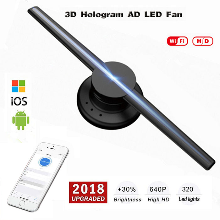 3D Holographic Projector Hologram Player LED Display Fan Advertising Light  (European regulations)