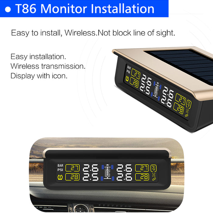 T86-WF TPMS Tire Pressure Monitoring System with 4 Sensors Tire Pressure Indicator (External)
