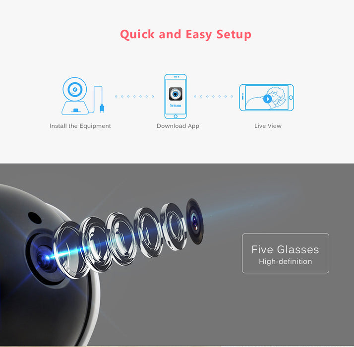 UK Sricam SP020 HD 720P WiFi IP Security Indoor Camera IR-CUT Wireless Camera Home CCTV Baby Monitor