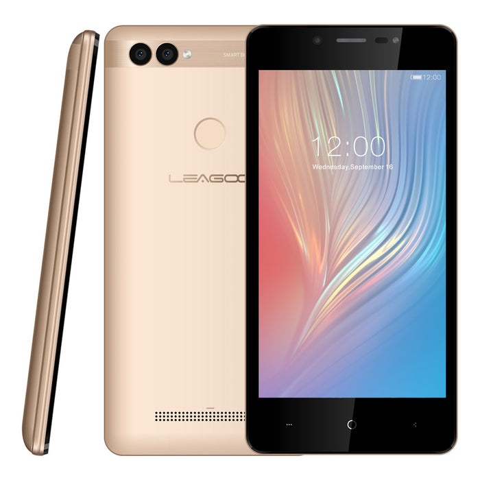 LEAGOO POWER 2 Mobile Phone 5-Inch HD IPS 2GB RAM + 16GB ROM Android 8.1 MT6580A Quad Core 8MP+5MP Camera 3200mAh-Gold