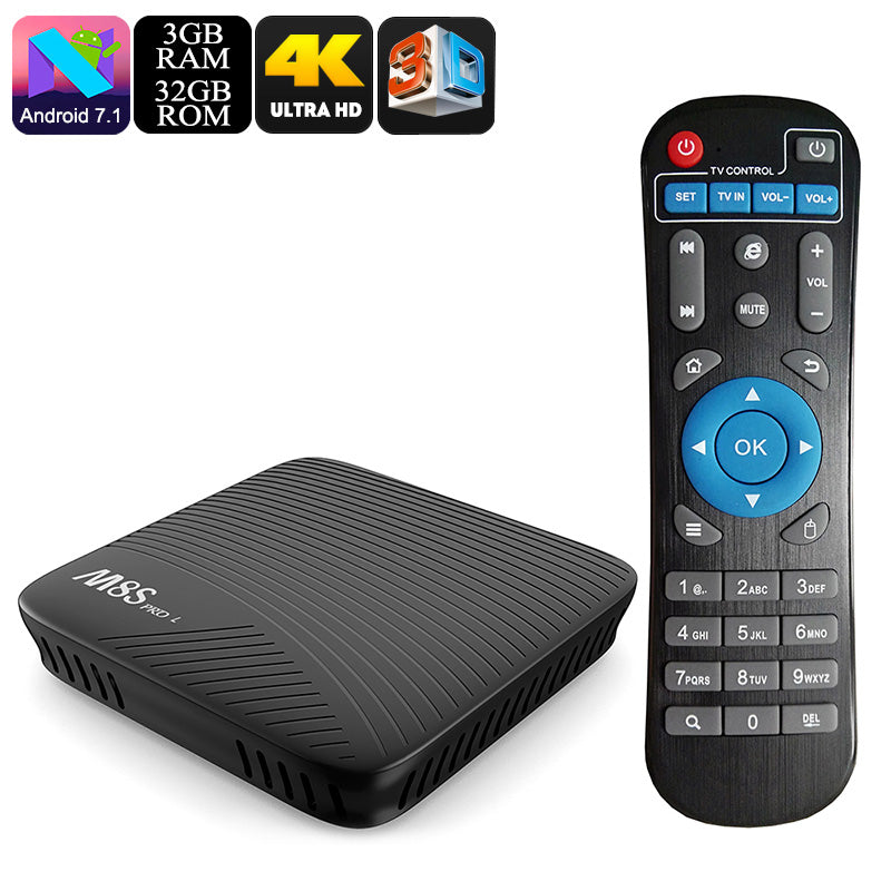 Mecool M8S Pro L Android TV Box - Android 7.1, Kodi 17.3, Octa Core CPU, 3GB RAM, 32GB Memory, Airplay, Miracast, DLNA