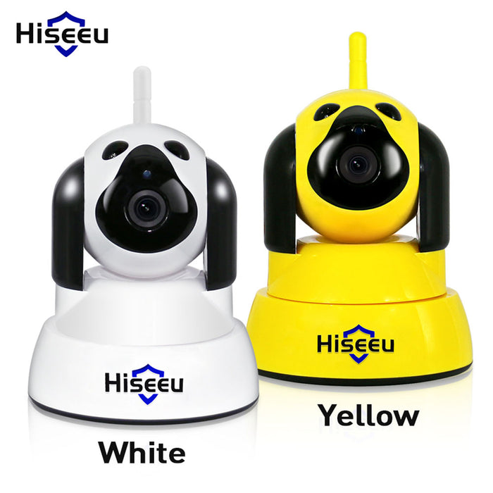 Home Security IP Camera Wi-Fi Wireless Smart Pet Dog Camera 720P Night CCTV Indoor Baby Monitor Yellow (European regulations)