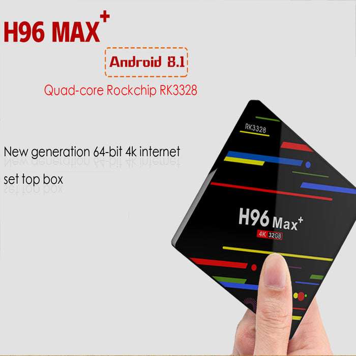 US plug 4G 32GB TV Box H96 Max+ Android 8.1 Smart TV Box RK3328 Quad-Core 64bit Cortex-A53 4 GB 64G Penta-