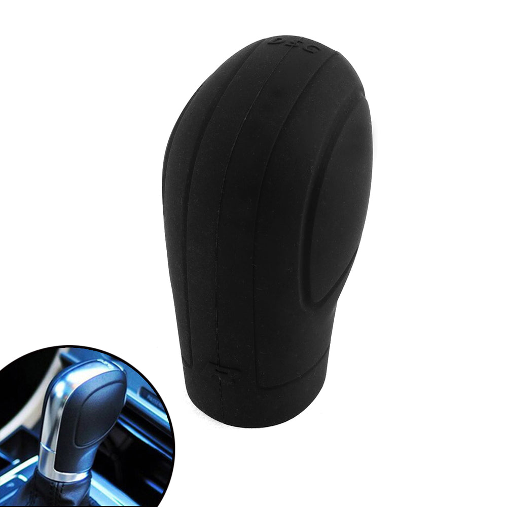 Soft Silicone Nonslip Car Shift Knob Gear Stick Cover Protector with Trepanning Design - Black