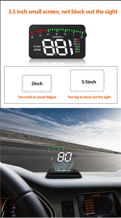 "A9 3.5 ""TFT LCD color screen Kmh and Mph, speed alarm.Braking performance, water temperature alarm, head up display"
